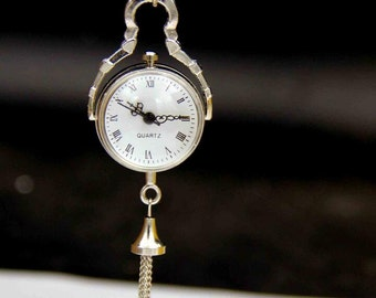 HOT Round ball shape pocket watch necklace pendant, quartz watch,magnifying glass watch necklace, silver globe necklace pendant L10S