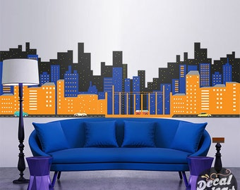 Superhero Wall Decal   Gotham City Wall Decal   City Skyline Sticker    Printed City Wall Part 32