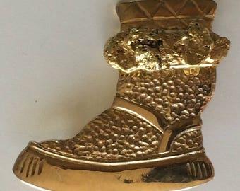 Vintage 10K & 20-22K Natural Gold Nugget Alaska Mukluk Pin Brooch