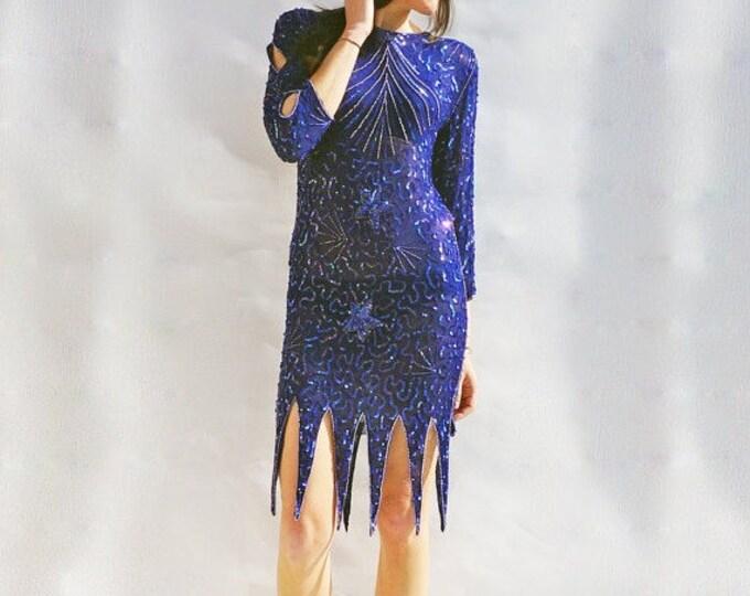 Blue Sequin Dress, Vintage 80s Sheer Silk & Sequined Long Sleeved Midi Dress, Vintage Prom Dress, Vintage Evening Gown, Silk Evening Dress
