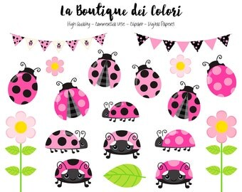 Pink Ladybug Clipart, Cute Graphics PNG, Ladybird, Bugs, garden flowers, Insect Clip art, Scrapbook Illustrations for small Commercial Use