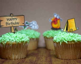 camping cupcake toppers, camping theme cupcake toppers (set of 12 toppers)