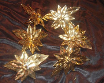 Set of 6 LARGE  brass POINSETTIA FLORAL  napkin holders