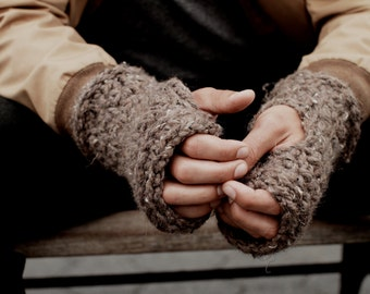 Mens Knit Fingerless Gloves Linen Stitch Warm Rugged Chunky // Harbourside Fingerless Gloves