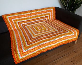 Throw Blanket Crochet Blanket Granny Square Blanket Yellow Throw Blanket Orange Throw