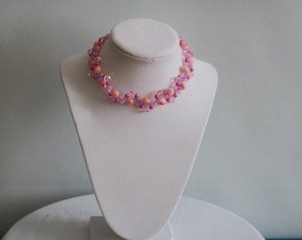 Pink coral rose quartz with purple crystals choker necklace
