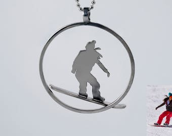 Snowboard pendant customized from a picture. Snow jewels. Silver snowoboard. Sport jewels. Customized jewels