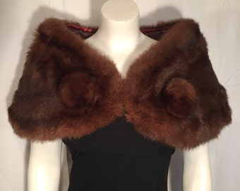 Vintage Rabbit Fur Stole Cape Capelet Made to look Like Brown Mink with Pom Poms 50s Fifties