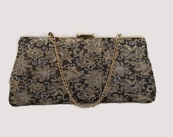 Vintage 1950s 1960s Metallic Black and Gold Brocade Purse Handbag Clutch Evening Bag with Gold Chain