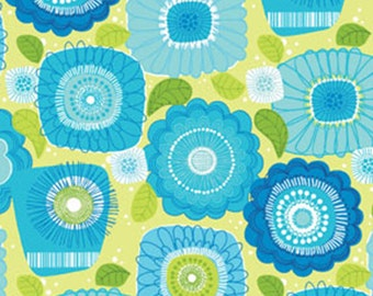 Half Yard Sweet Tweet - Sunshine and Flowers in Blue / Lime Green -Cotton Quilt Fabric - Mitzi Powers for Benartex Fabrics - 653-44 (W3667)