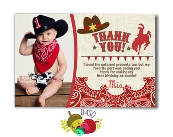 Thank you card Cowboy Invitation - Cowboy Printable -Cowboy Birthday - Western Birthday -Cowgirl Invitation -