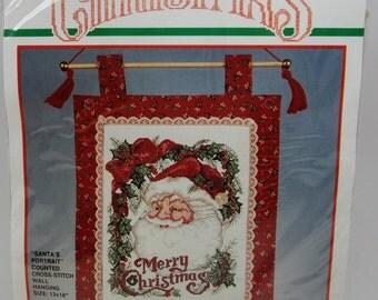 Bucilla Christmas Santa's Portrait Counted Cross Stitch Kit #82762 Wall Hanging