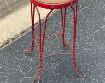 Vintage Industrial wood and metal stool - ice cream parlor