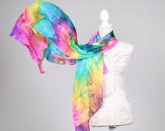 Long summer scarf / art silk scarf / rainbow scarf / Large multicolor scarf / long summer silk wrap /  rainbow shawl