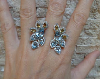 Blue Topaz and Citrine ring in Sterling Silver with Pave CZ, Size 7