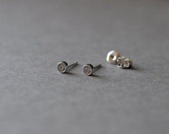 Tiny CZ Dot Studs Earring 4mm - Sterling Silver