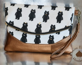 Bolso de Mano Osos Black & White/ Foldover Clutch and Wristlet
