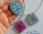 Dichroic Meeple necklace ...