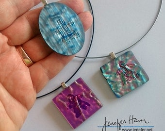 Dichroic Meeple necklace by Jenefer Ham Pawns Board Game Fused Glass