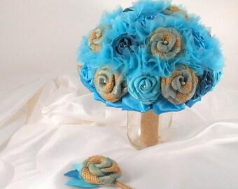 Aqua Wedding Bouquet, Teal Bridal Bouquet, Fabric Bouquet, Burlap and Lace, Bridesmaid Bouquet, Burlap Bouquet,  Teal, Seafoam, Aqua