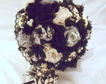 Black Burlap Wedding Bouquet, Black Bridal Bouquet, Burlap Bouquet, Shabby Chic, Vintage Bouquet, Black and Ivory Bouquet, Gray Bouquet