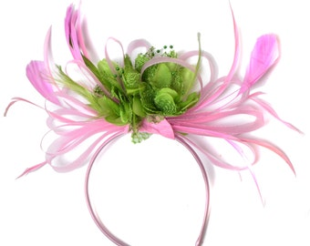 Baby Pink and Green Fascinator on Headband Alice Band UK Wedding Ascot Races Derby