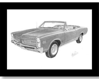 Car art pencil drawing of a 1966 Pontiac Lemans convertible