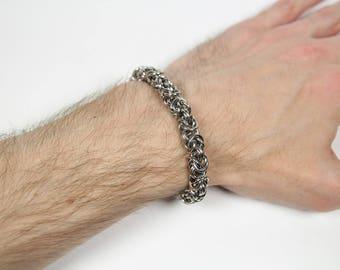 Byzantine-2 Bracelet, Chainmaille Bracelet, Stainless Steel, Byzantine Bracelet, Chainmail Bracelet, Maille, Mens Bracelet, Mens Jewelry