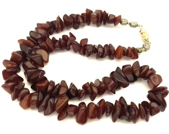 Amber Pressed Necklace Antique 33.84 Gr Honey Cognac Color Collar