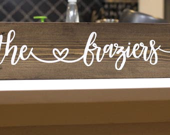 "5x24"" personalized family name sign with heart, family name sign"
