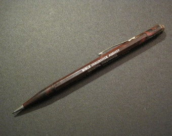Vintage Mechanical Pencil - Working - with advertising from the Bible Insurance Agency
