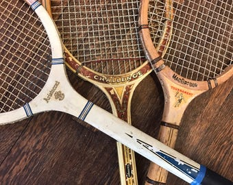 Vintage wood tennis rackets: Slazenger Challenge, macgregor Tournament, magnan aristocrat