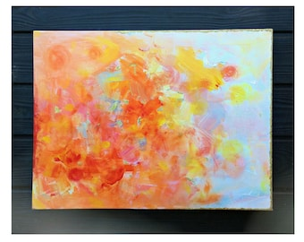 HEAVEN ++ abstract, acrylic, 18″ x 42″ canvas, mixed media