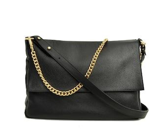 Black leather bag,black shoulder bag,Goldchain,black leather purse,leather Hand Bag, Clutch, Pouch, FRANCIS BLACK