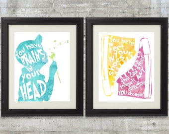 You Have Brains in Your Head, Feet In Your Shoes, Print-It-Yourself Dr. Seuss Quote Print, set of 2- 8x10 Files, Printable Kids Wall Art