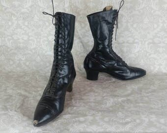 Victorian Granny Boots Black by Boot and Shoe Workers Union Label I Antique Lace Up Edwardian Granny Boots I Antique Womens Shoes