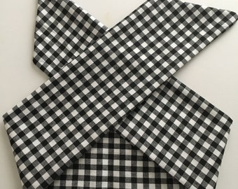 Black and White Gingham Handmade Fabric Pinup-Inspired Head Scarf