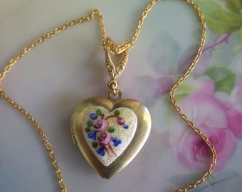 Vintage Heart Locket ~ Yellow Pink ~ Necklace ~ Forget Me Not ~ Flower ~ Heart Pendant ~  Gold Brass ~ by LadyoftheLakeJewels