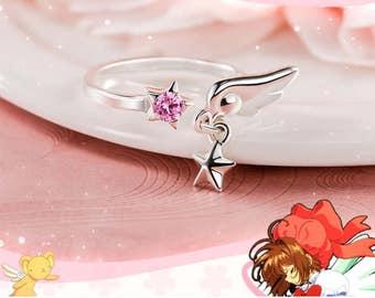 Card Captor Sakura Ring Sterling Silver 925 Cubic Zirconia Anime Manga Cosplay