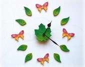 Wall clock. Butterflies. ...