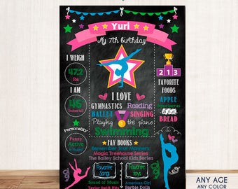 Gymnastics - Chalkboard Sign Birthday Poster - Any Color- Any Age- Any Type Of Event - First Birthday - Printed Or Printable File.