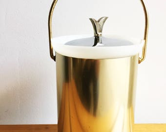 Gold and Silver Mid Century Ice Bucket