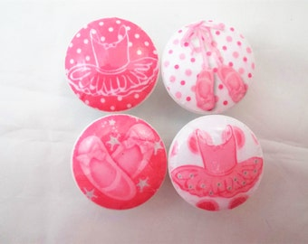 Set of 4 Pink and White Ballet Print Cabinet Knobs