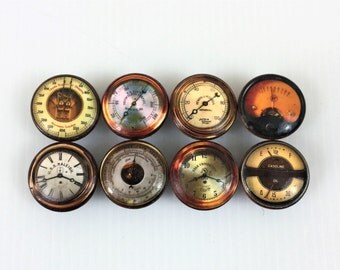 Set of 8 Radio Dial  and Gauge Print Cabinet Knobs
