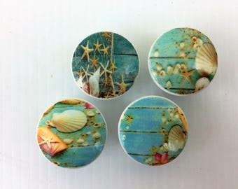 Set of 4 Blue Boardwalk Sea Shells Cabinet Knobs