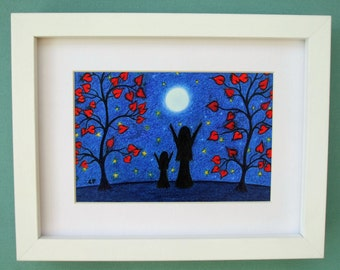 Mother Daughter Art Print, Moon Stars Mother Child Picture, Framed Print, Mother Gift, Moon Picture, Daughter Gift, Framed Picture, Child