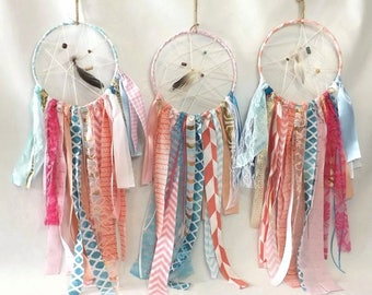 1 Tribal Dream Catcher with Feathers & Beads, 8 Inch Colorful Boho Wedding or Wild One Birthday Party Decoration, Home Decor Wall Hanging