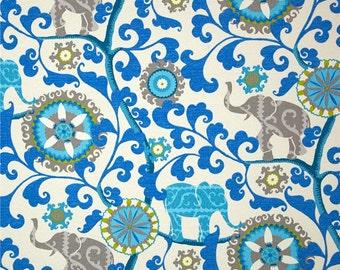 Elephants - Waverly Sun N Shade Menagerie Sapphire Decorative Indoor Outdoor Pillow / Lumbar / Bolster Cover with Hidden Zipper
