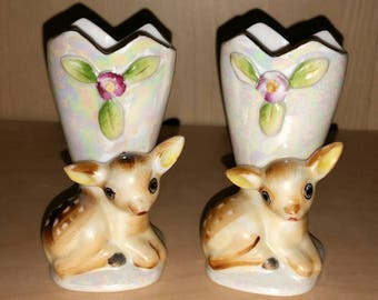Vintage BABY DEER Figurines Lusterware Fawn Bud Vases 50s JAPAN Mini Vase Set Ceramic Kitsch Bambi Statue Woodland Baby Nursery Decor Gift