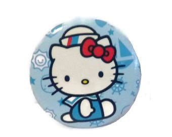 Vintage Hello KITTY Pin Badge Brooch SAILOR Blue Nautical Pinback Button SANRIO Naval Patriotic Kawaii Kitty Cat Broach Navy Kitten Gift Bff